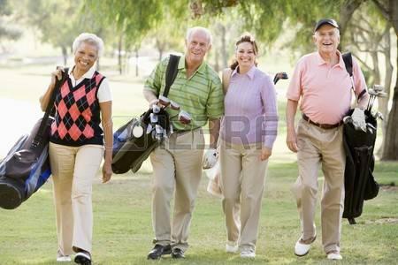 4507136 portrait of four friends enjoying a game golf